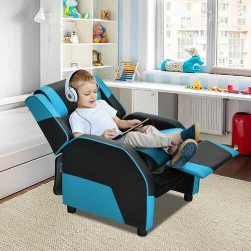 Kids Youth PU Leather Gaming Sofa Recliner with Headrest and Footrest-Blue - Color: Blue