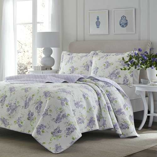 King size 3-Piece Cotton Quilt Set with Purple White Floral Pattern - NorCal Cyber Sales
