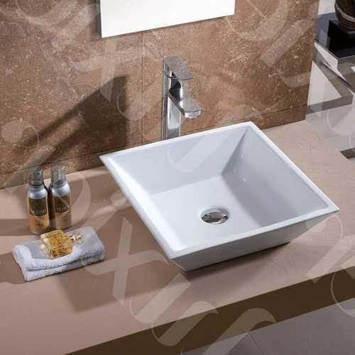 Contemporary White Ceramic Porcelain Vessel Bathroom Vanity Sink - 16 x 16-inch - NorCal Cyber Sales