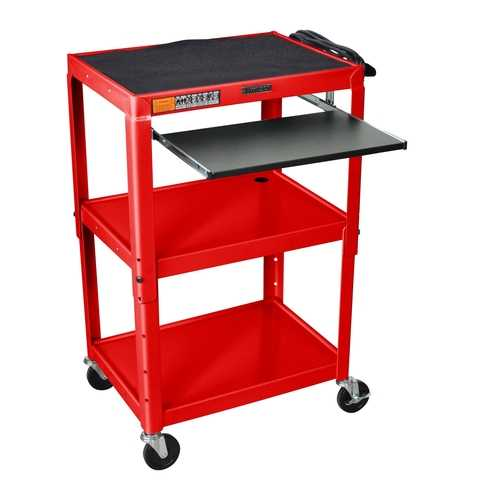 Mobile Stand Up Computer Desk Workstation Cart in Red Steel - NorCal Cyber Sales