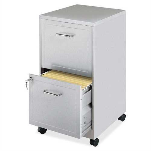 Gray Silver Metal 2-Drawer File Cabinet with Casters - NorCal Cyber Sales