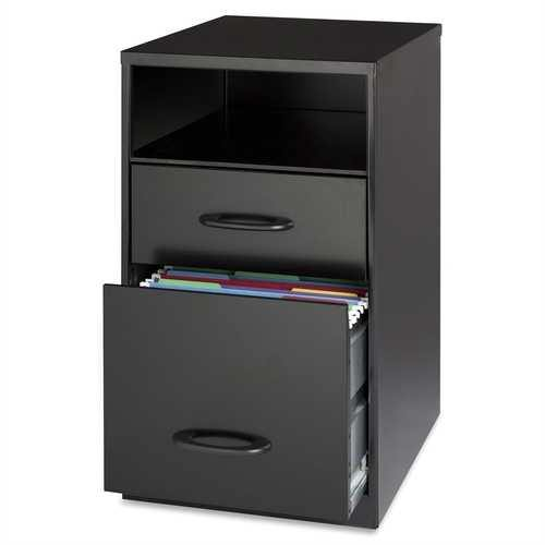 Black Metal 2-Drawer Filing Cabinet with Office Storage Shelf - NorCal Cyber Sales