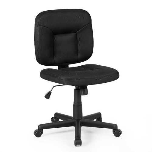 Low-Back Office Chair with Adjustable Height & Lumbar Support - Color: Black