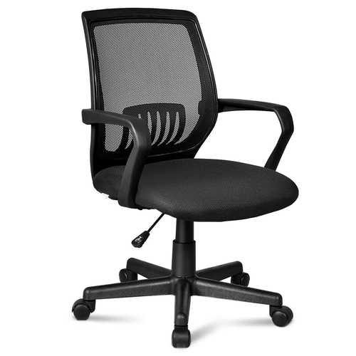 Lumbar Support Adjustable Rolling Swivel  Mesh Office Chair - Color: Black