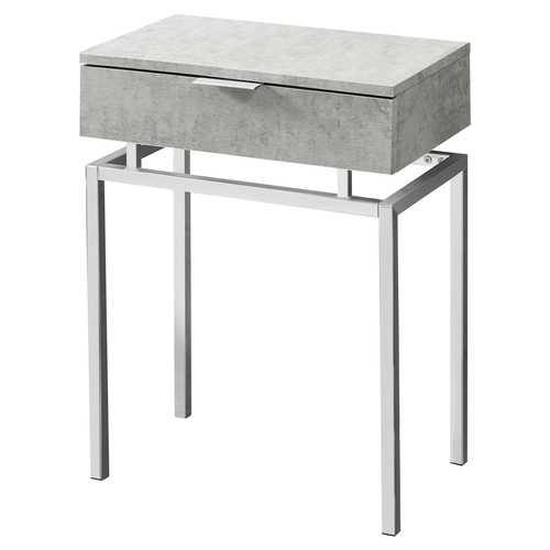 24in Modern End Table 1 Drawer Nightstand Grey with Chrome Metal Legs - NorCal Cyber Sales