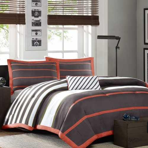 Full / Queen Bed Bag Comforter Set in Dark Gray Orange White Stripes - NorCal Cyber Sales