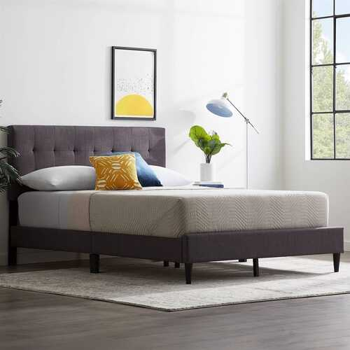 Queen size Dark Gray Upholstered Tufted Platform Bed Frame - NorCal Cyber Sales