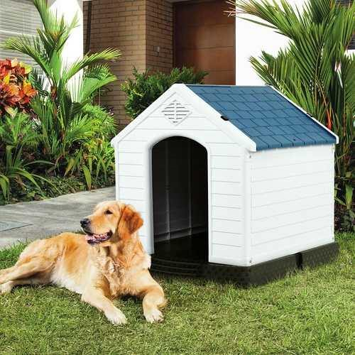 Medium size Dog House Outdoor White Blue Plastic with Elevated Floor - NorCal Cyber Sales