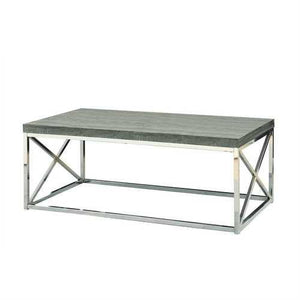 Modern Coffee Table with Chrome Metal Frame and Dark Taupe Wood Top - NorCal Cyber Sales