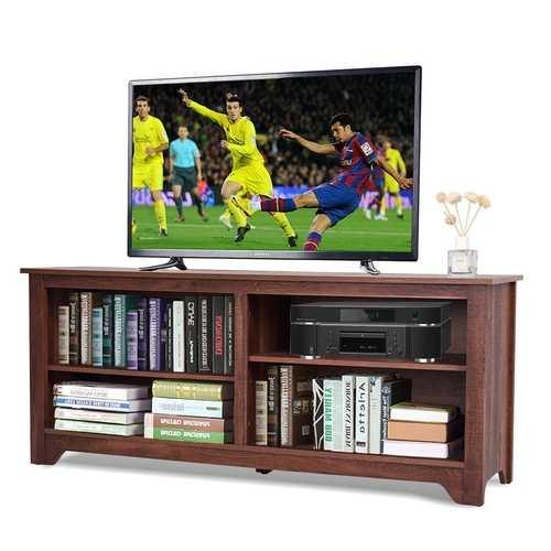 Medium Brown Wood TV Stand Entertainment Center for up to 60-inch TV - NorCal Cyber Sales