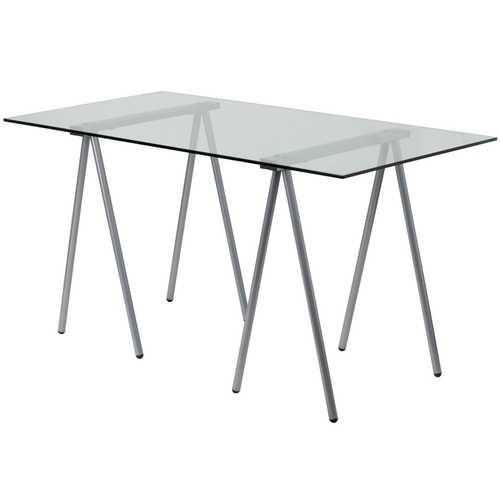 Modern Clear Tempered Glass Top Writing Table Computer Desk with Metal Legs - NorCal Cyber Sales