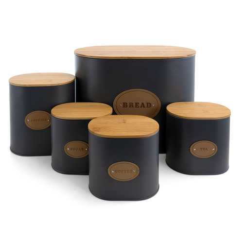 MegaChef Kitchen Food Storage and Organization 5 Piece Canister Set in Grey with Bamboo Lids - NorCal Cyber Sales