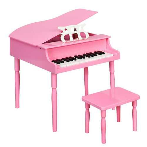 30-Key Wood Toy Kids Grand Piano with Bench & Music Rack-Pink - Color: Pink - NorCal Cyber Sales
