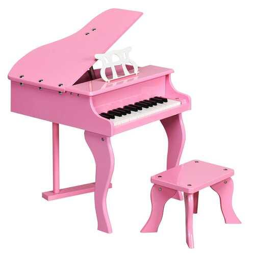 Classic 30 Key Baby Grand Wooden Piano with Bench-Pink - Color: Pink - NorCal Cyber Sales