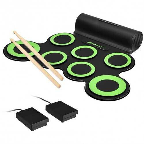 Set 7 Kit Electronic Roll Up Pads MIDI Drum -Green - Color: Green - NorCal Cyber Sales
