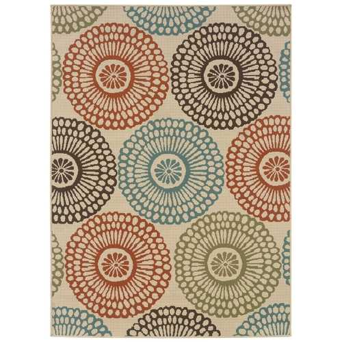 "7'10"" x 10'10"" Indoor / Outdoor Beige Area Rug with Colorful Circle Pattern"