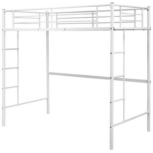 Metal Twin Loft Ladder Beds-White - Color: White