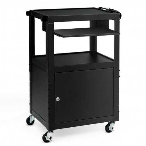 Mobile Steel Height Adjustable AV Presentation Cart with Locked Cabinet and Keyboard