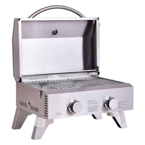 2 Burner Portable Stainless Steel BBQ Table Top Grill for Outdoors - NorCal Cyber Sales