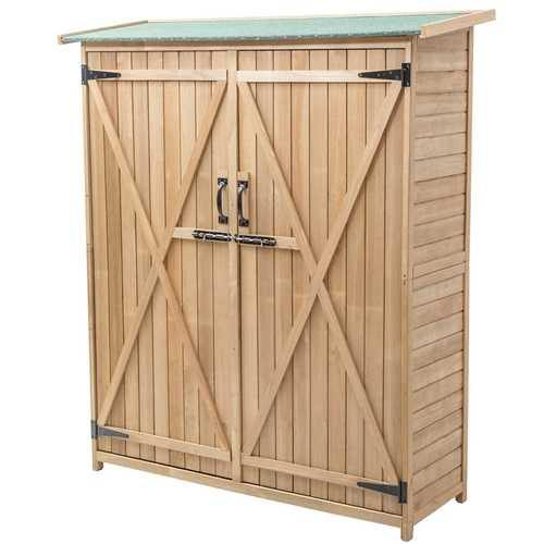 "64"" Wooden Storage Shed Outdoor Fir Wood Cabinet - NorCal Cyber Sales"
