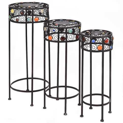 3 pcs Round Display Ceramic Beads Metal Plant Stand - NorCal Cyber Sales