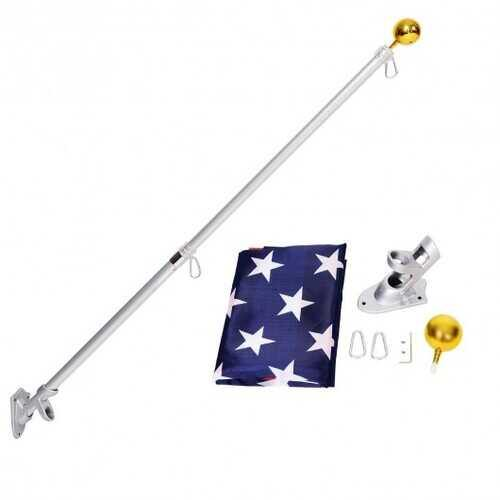 5/6 Ft Telescoping Flagpole Spinning Wall Mount USA Flag Kit-5' - Size: 5' - NorCal Cyber Sales