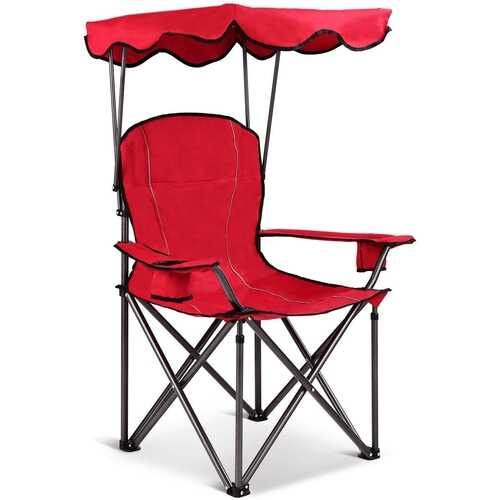 Portable Folding Beach Canopy Chair with Cup Holders-Red - Color: Red - NorCal Cyber Sales