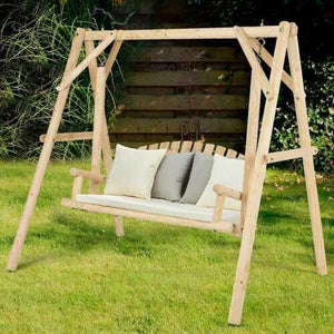 Rustic Wooden Porch Swing Bench with A-Frame Stand Set - Color: Natural - NorCal Cyber Sales