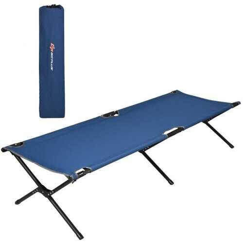 Adults Kids Folding Camping Cot-Blue - Color: Blue - NorCal Cyber Sales