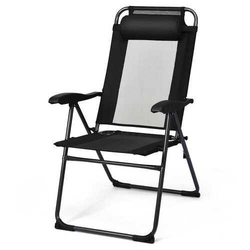 2 PCS Patio Adjustable Folding Recliner Chairs-Black - Color: Black - NorCal Cyber Sales