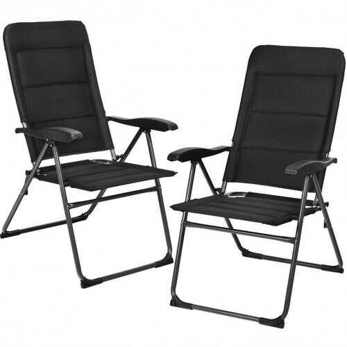 2 Pcs Patio Back Adjustable Reclining Folding Chairs-Black - Color: Black - NorCal Cyber Sales