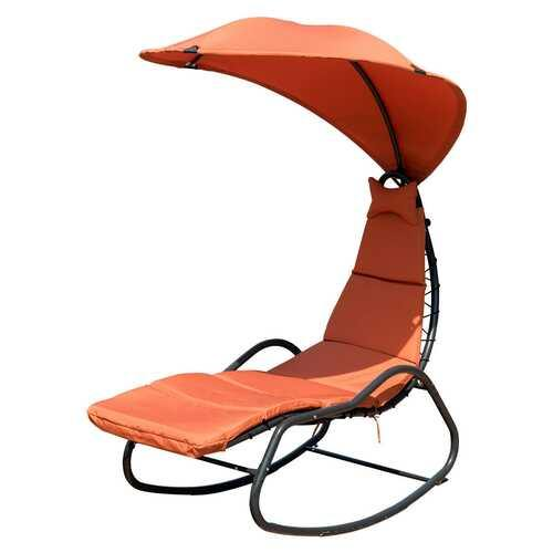 Patio Hanging Swing Chaise Lounge Chair-Orange - Color: Orange - NorCal Cyber Sales