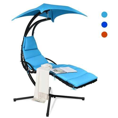 Hanging Stand Chaise Lounger Swing Chair w/ Pillow-Blue - Color: Blue - NorCal Cyber Sales