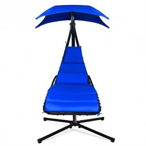 Hanging Stand Chaise Lounger Swing Chair w/ Pillow-Navy - Color: Navy - NorCal Cyber Sales