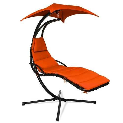 Hanging Stand Chaise Lounger Swing Chair w/ Pillow-Orange - Color: Orange - NorCal Cyber Sales
