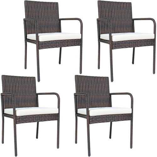 4 PCS Outdoor Patio Rattan Dining Chairs Cushioned Sofa - NorCal Cyber Sales