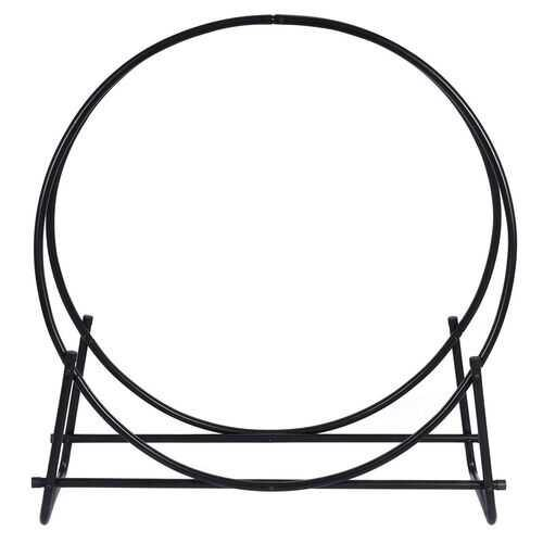 40-inch Tubular Steel Firewood Storage Rack - Color: Black - NorCal Cyber Sales