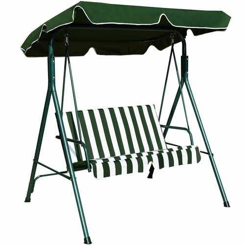 Loveseat Cushioned Patio Steel Frame Swing Glider -Green - Color: Green - NorCal Cyber Sales