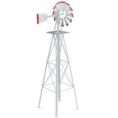 8 ft Tall Windmill Ornamental Wind Wheel-Silver - Color: Gray - NorCal Cyber Sales