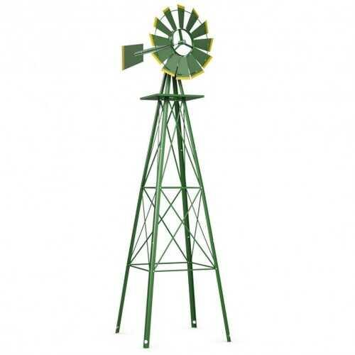 8 ft Tall Windmill Ornamental Wind Wheel-Green - Color: Green - NorCal Cyber Sales
