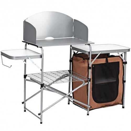 Foldable Outdoor BBQ Portable Grilling Table With Windscreen Bag - NorCal Cyber Sales