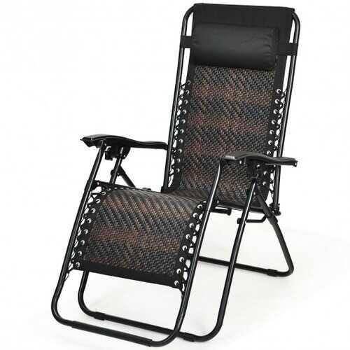 Folding Patio Rattan Zero Gravity Lounge Chair Recliner-Brown - Color: Brown - NorCal Cyber Sales