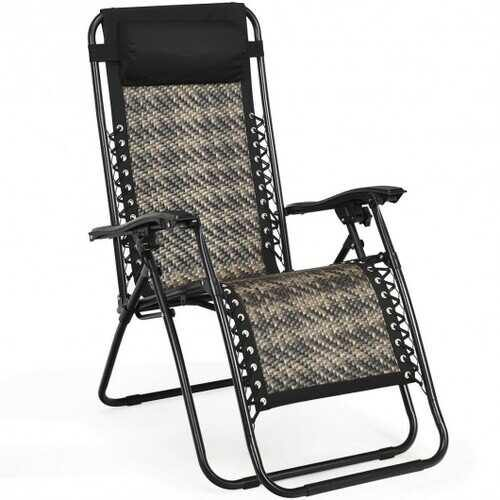 Folding Patio Rattan Zero Gravity Lounge Chair Recliner-Gray - Color: Gray - NorCal Cyber Sales