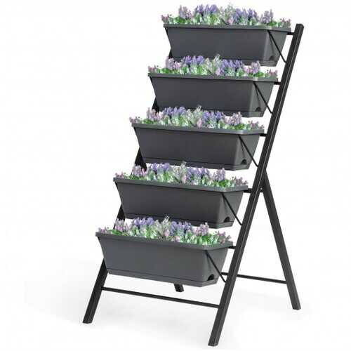 4 ft Vertical Raised Garden Bed with 5 Tiers for Patio Balcony Flower Herb - NorCal Cyber Sales