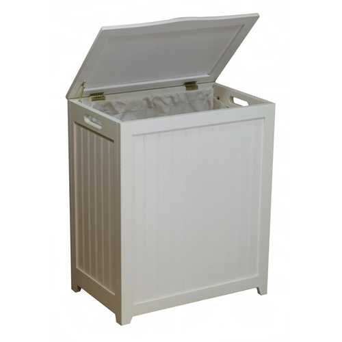 White Solid Wood Rectangular Laundry Hamper - NorCal Cyber Sales