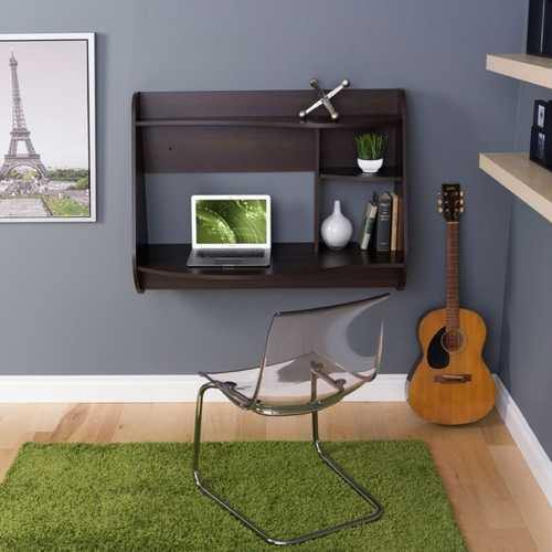 Espresso Wall-Mount Modern Floating Desk for Laptop Computer or Tablet - NorCal Cyber Sales