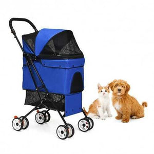 Pet Foldable Cage Stroller For Cat And Dog-Blue - Color: Blue - NorCal Cyber Sales