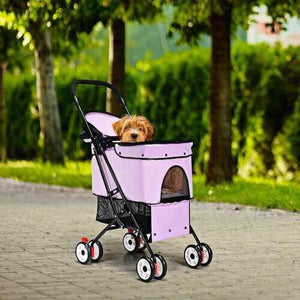 Pet Foldable Cage Stroller For Cat And Dog-Pink - Color: Pink - NorCal Cyber Sales