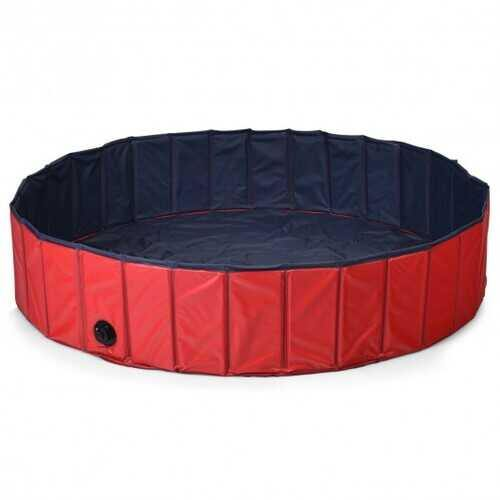 "55"" PVC Outdoor Foldable Pet and Kids Swimming Pool-Red - Color: Red - NorCal Cyber Sales"