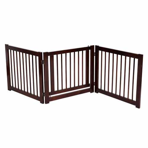 "24"" Configurable Folding 3 Panel Wood Dog Fence - Color: Cherry"